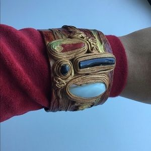 Vintage Ethnic Leather Cuff Necklace